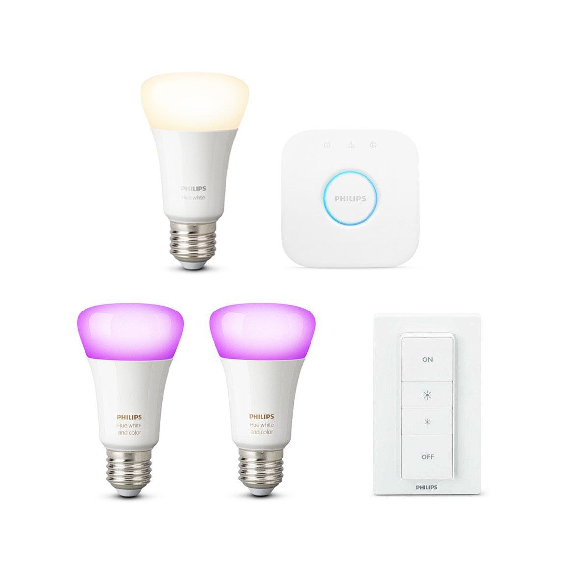 Philips Hue White & Color Ambiance E27 Starter Kit + gratis Lampe