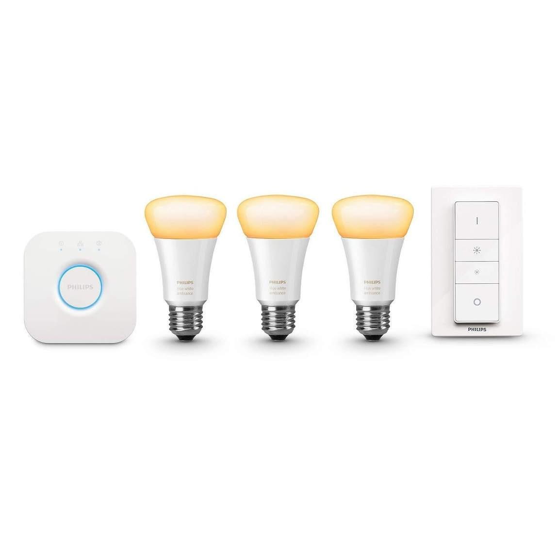 Philips Hue White Ambiance E27 Starter 3 Lampen, Bridge, Dimmschalter