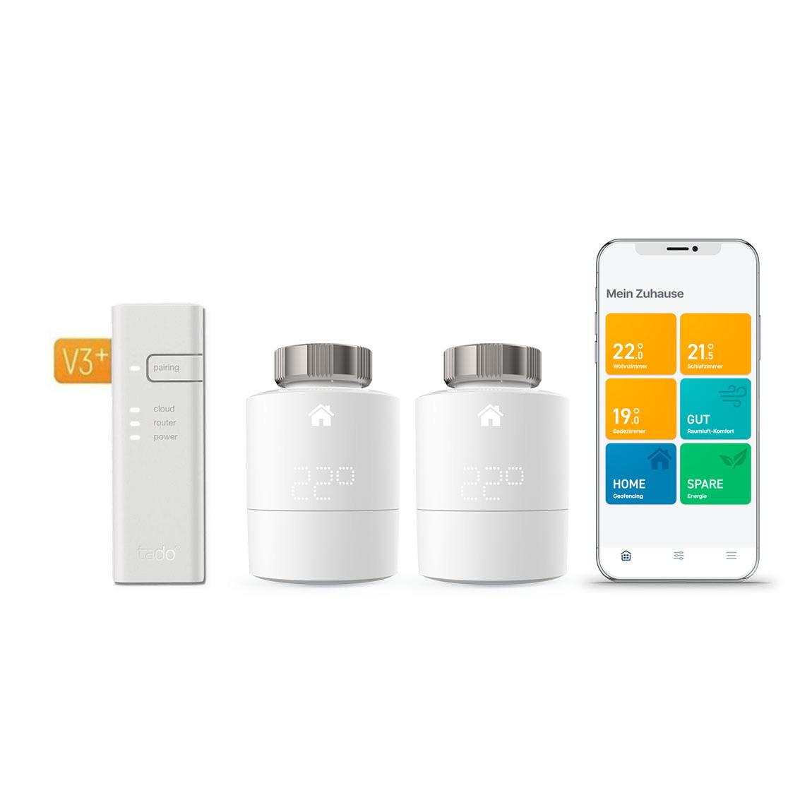 tado° Smartes Heizkörper-Thermostat Starter Kit V3+ mit 2 Thermostaten und Bridge