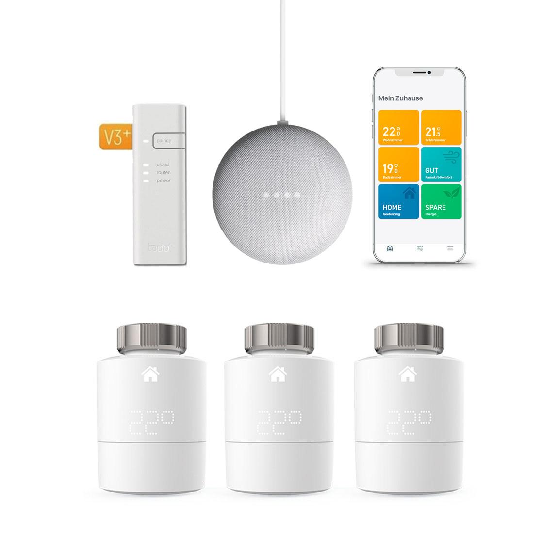 tado° Smartes Heizkörper-Thermostat Starter Kit V3+ mit 3 Thermostaten & Bridge + Google Nest Mini