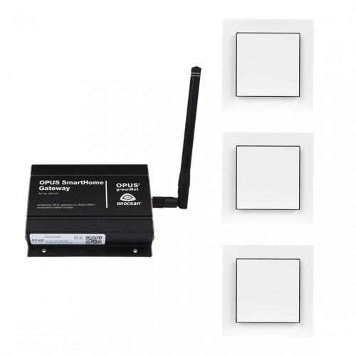 drei 1 Kanal Lichtschalter von opus und eine smarte Gateway Zentrale