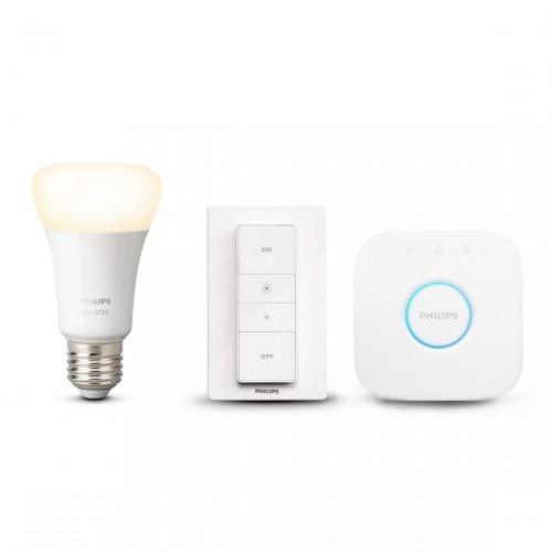 Philips Hue White E27 Dimming Starter Kit - Lampe, Dimmer inkl. Bridge
