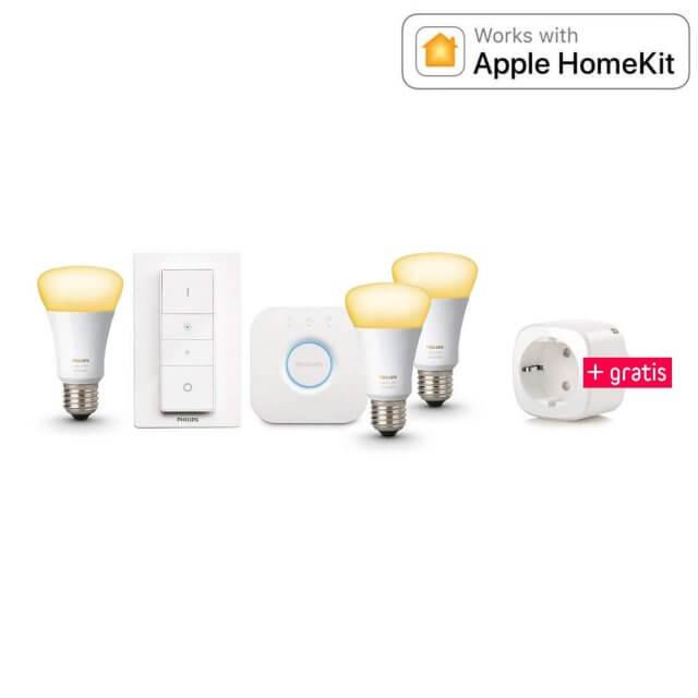 Philips Hue White Ambiance E27 3er Starter Kit + gratis Elgato Eve Energy