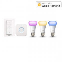 Philips Hue White and Color Ambiance E27 Starter Kit - 3 Lampen, Bridge + Dimmschalter