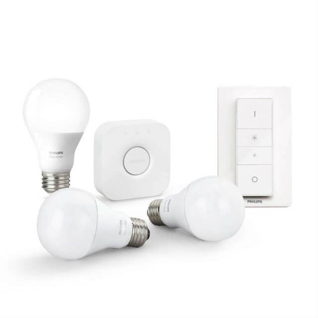 Philips Hue White Starter Kit E27 - 3 Lampen, Bridge + Dimmschalter in weiß