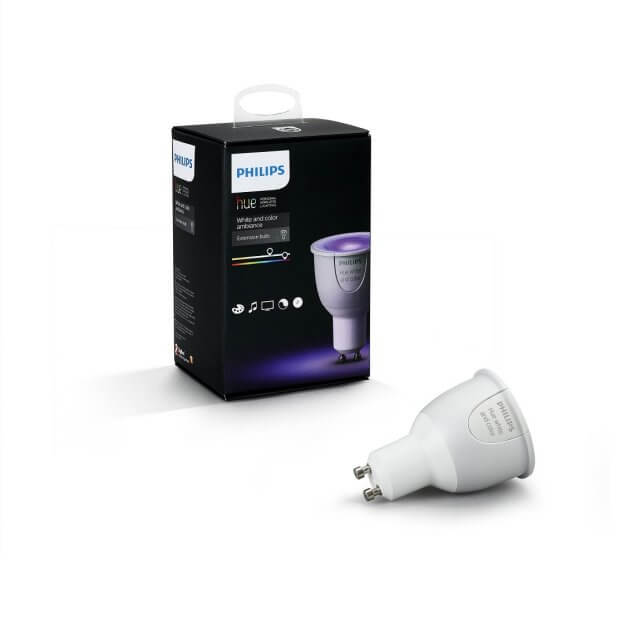 Philips Hue White and Color Ambiance GU10 LED-Spot mit Verpackung