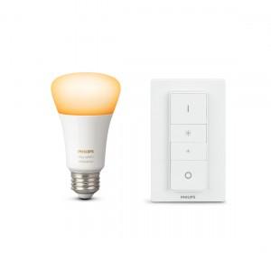 Philips Hue White Ambiance E27 Bluetooth und Dimmschalter in frontaler Ansicht
