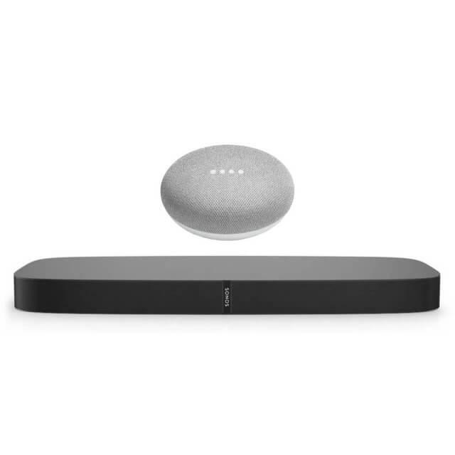 Sonos PLAYBASE WLAN Lautsprecher in schwarz und Google Home Mini Sprachassistent in hellgrau
