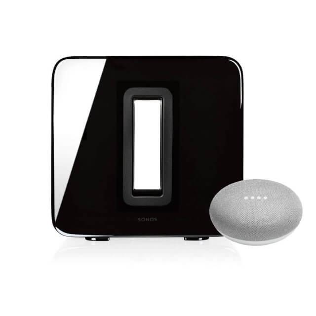Sonos SUB WLAN Lautsprecher in schwarz und Google Home Mini Sprachassistent in hellgrau