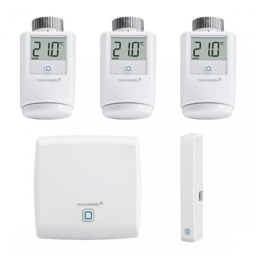 Homematic IP Heizkörperthermostate, Acces Point und Fensterkontakt frontal nebeneinander