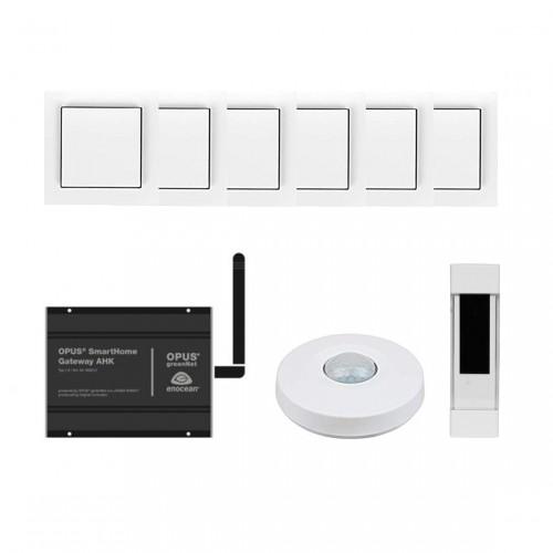 OPUS Starter Set Licht - Gateway + Bewegungsmelder + Tür- und Fensterkontakt + 6x Lichtschalter