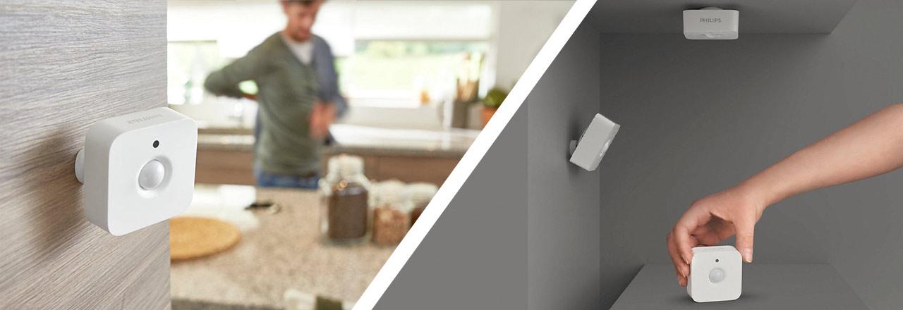 Philips Hue Bewegungssensoren an Wand und Decke montiert