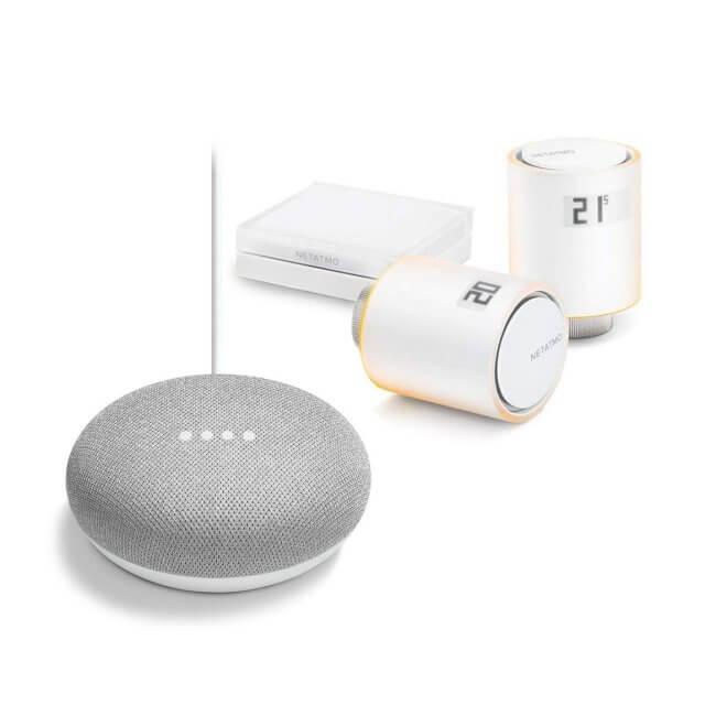 Netatmo Thermostate 2er Starter Set und Google Home Mini Sprachassistent in hellgrau