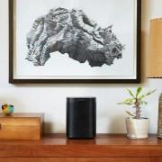 SONOS One Wlan Lautsprecher auf einem Holzregal neben lampe
