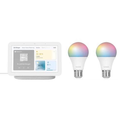 Google Nest Hub (2. Generation) + Hombli Smart Bulb E27 Color 2er-Pack