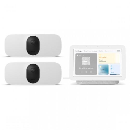 Arlo Pro 3 Floodlight Cam WIRELESS 2er-Set + Google Nest Hub (2. Generation)