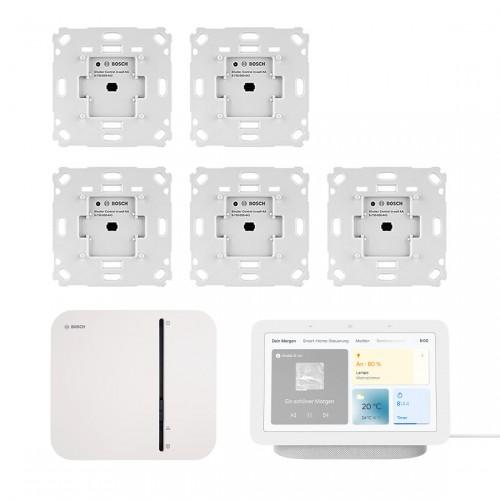 Bosch Smart Home - Starter-Set Rollladensteuerung mit 5 Unterputz-Aktoren + Google Nest Hub (2. Generation)