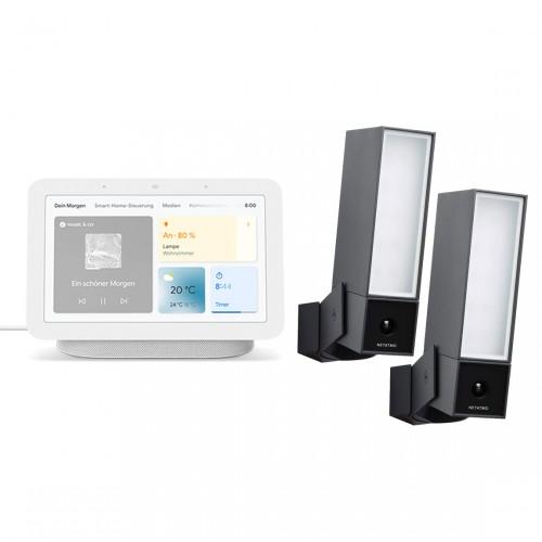 Netatmo Smarte Außenkamera 2er Set mit Google Nest Hub Smart Display