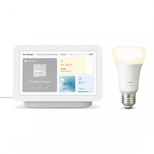 Google Nest Hub (2. Generation) + Philips Hue White E27 Bluetooth - Ledlamp