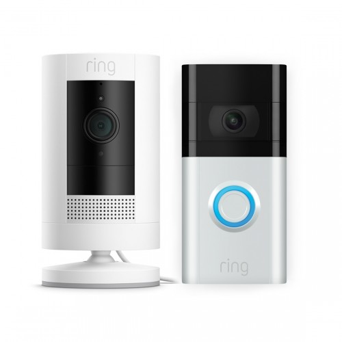 Ring Stick Up Cam Wired + Ring Video Doorbell 3