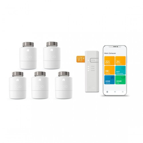 tado° Smartes Heizkörper-Thermostat Starter Kit V3+ mit 5 Thermostaten und Bridge und App