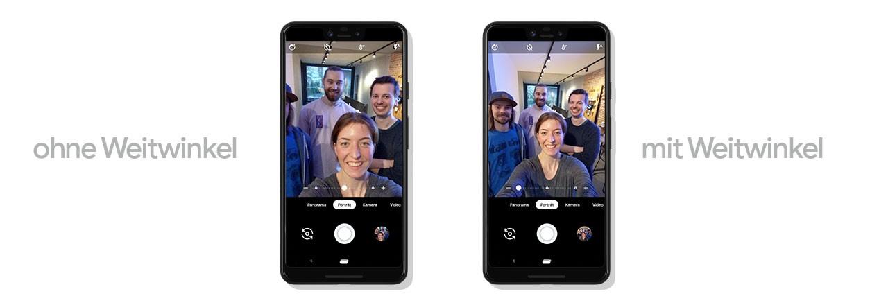 Zwei Google Pixel nebeneinander mit Gegenüberstellung von Fotomodus mit und ohne Weitwinkel