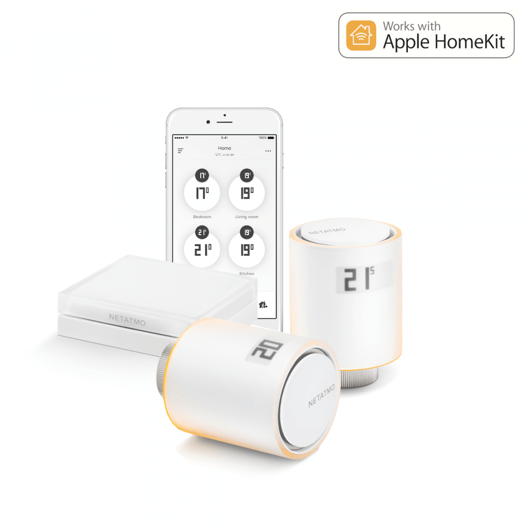 netatmo heizk rperthermostat starter kit mit 2. Black Bedroom Furniture Sets. Home Design Ideas