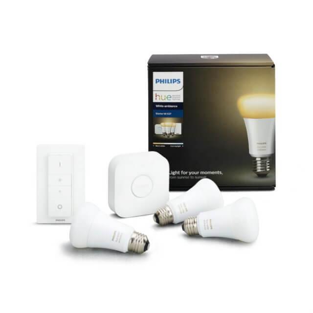 Philips Hue White Ambiance Starter Kit E27 - 3 Lampen, Bridge + Dimmschalter