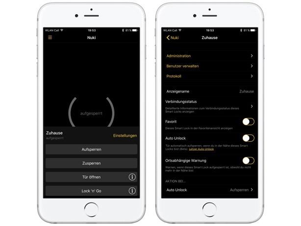 Nuki-App - Türschlossverwaltung