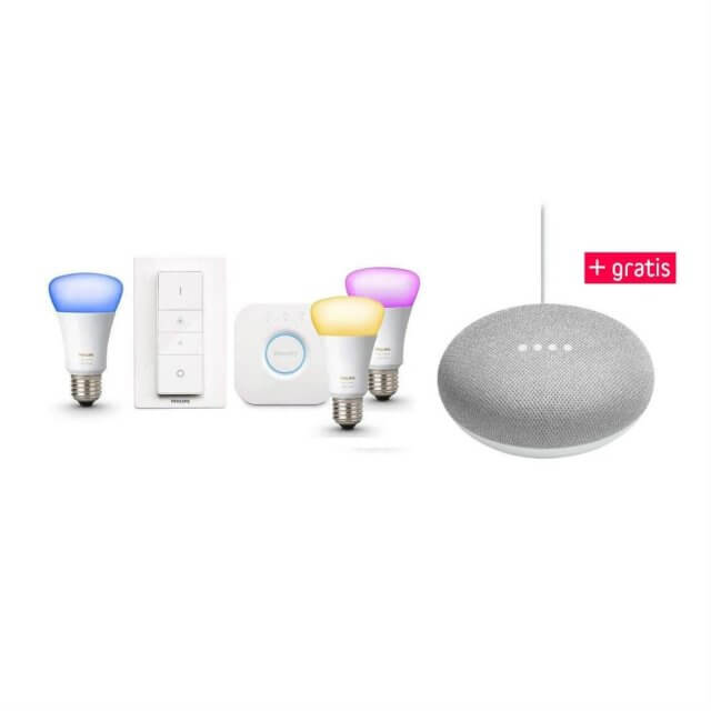 Philips Hue White and Color Ambiance E27 3er Starter Kit und gratis Google Home Mini Sprachassistent in hellgrau