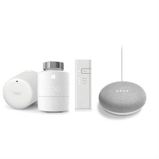 tado° Smartes Heizkörper-Thermostat 2er Starter Set und Google Home Mini Sprachassistent in hellgrau