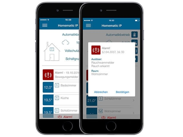 Homematic App Homescreen Ansicht