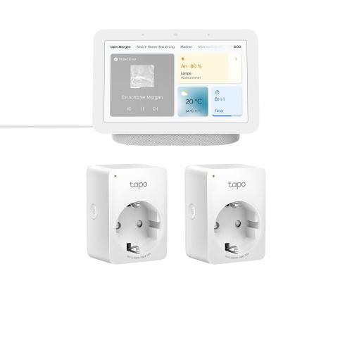 Google Nest Hub (2. Generation) + TP-Link Tapo P100 Mini Smart WLAN-Steckdose 2er-Set