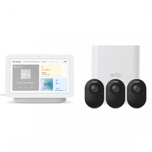 Arlo Ultra VMS5340 - Kabelloses 4K-Überwachungssystem mit 3 Kameras + gratis Google Nest Hub