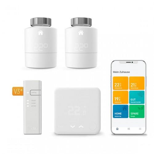 tado° Smartes Heizkörper-Thermostat Starter Kit V3+ mit 2 Thermostaten + Funk-Temperatursensor