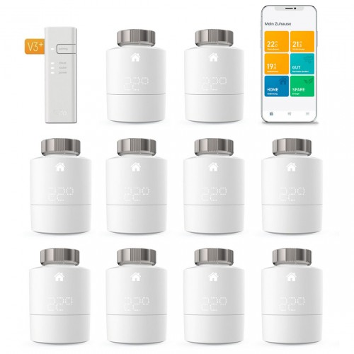 tado° Smartes Heizkörper-Thermostat Starter Kit V3+ mit 10 Thermostaten