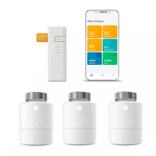tado° Smartes Heizkörper-Thermostat Starter Kit V3+ mit 3 Thermostaten & Bridge