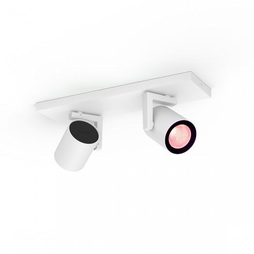 Philips Hue White and Color Ambiance Argenta Bluetooth 2er Spot-Lampe frontal eingeschaltet