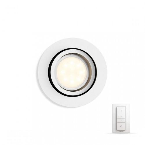 Philips Hue White Ambiance Milliskin Bluetooth - runder Einbauspot mit Dimmschalter