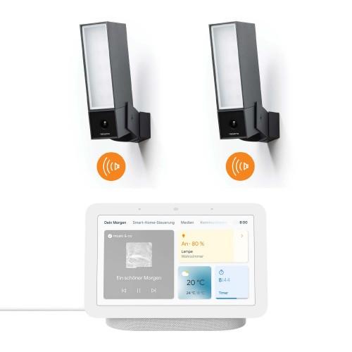 Netatmo Smarte Außenkamera mit Sirene 2er-Set + Google Nest Hub (2. Generation)