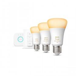 Philips Hue White Ambiance E27 Bluetooth Starter Kit - 3 Lampen, Bridge, Dimmschalter
