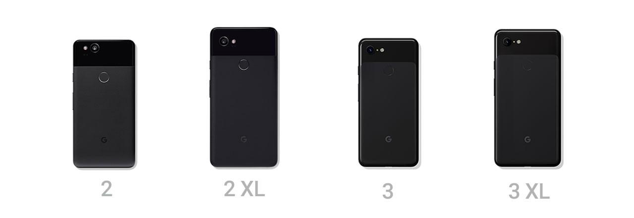 Google Pixel Modelle 2, 2XL, 3 und 3XL nebeneinander