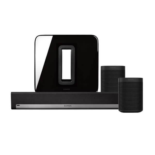 Sonos One 5.1 Heimkino Set in schwarz mit einem Sonos SUB, zwei Sonos One und einer Sonos Playbar