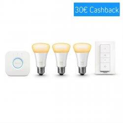 Philips Hue White Ambiance E27 Starter Kit - 3 Lampen, Bridge + Dimmschalter