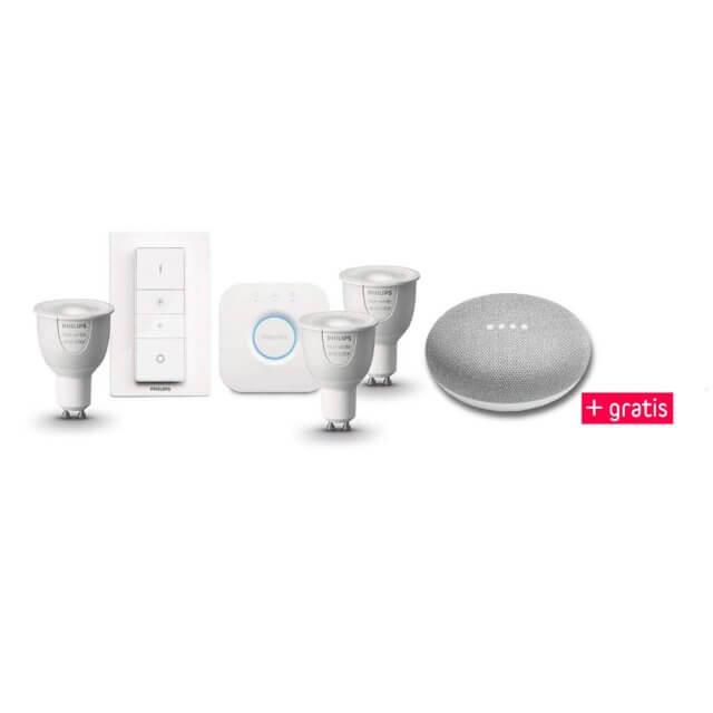 Philips Hue White and Color Ambiance GU10 3er Starter Kit und gratis Google Home Mini Sprachsteuerung in hellgrau