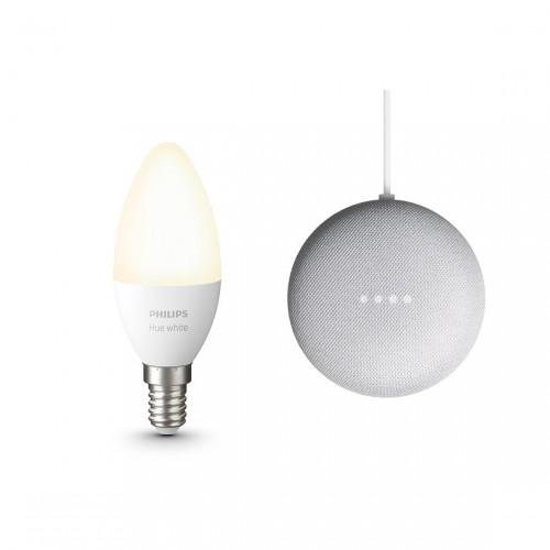Google Nest Mini + Philips Hue White E14 Bluetooth Lampe