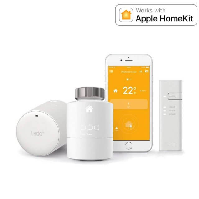 tado° Smartes Heizkörper-Thermostat Starter Set mit 2 Thermostaten + Bridge