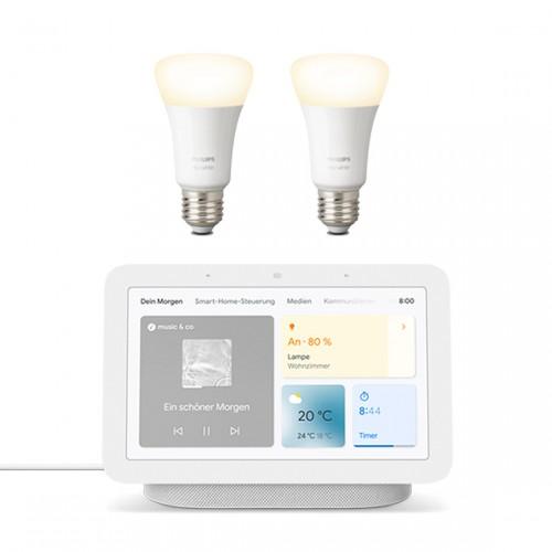 Google Nest Hub + gratis Philips Hue White E27 - LED-Lampe 2er-Set