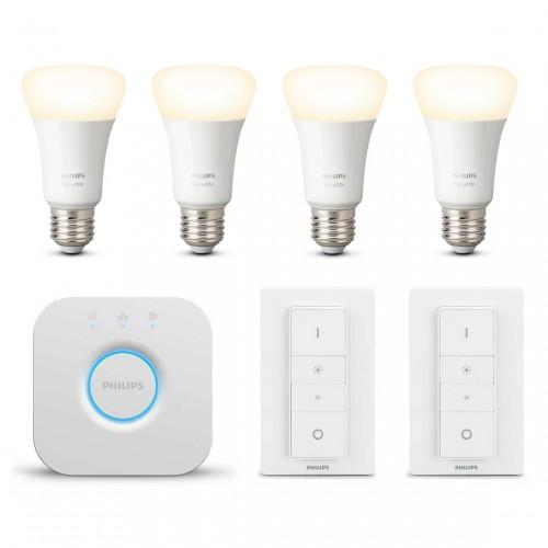 Philips Hue White E27 Bluetooth Starter Kit + Dimmer Kit im Wohnzimmer