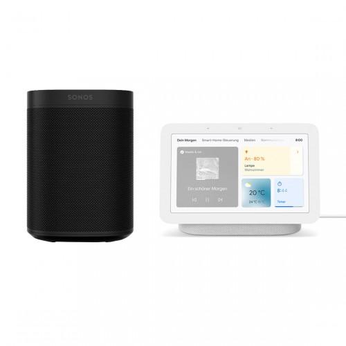 Google Nest Hub neben Sonos One Lautsprecher